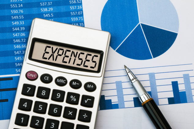 expenses on a calculator
